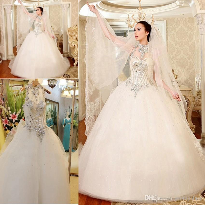 compre para la venta de lujo vestidos de novia de cristal una línea