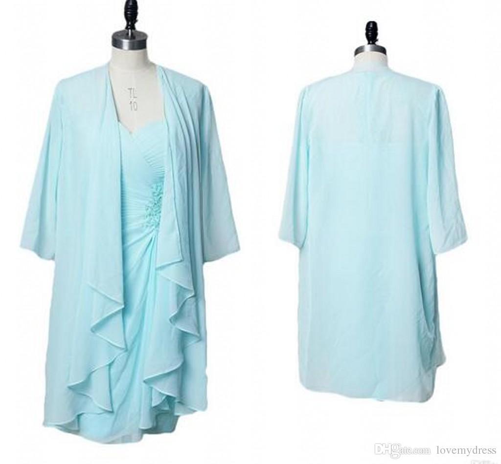 Light Sky Blue Knee Length Cheap Mother Of The Bride Groom Dresses ...