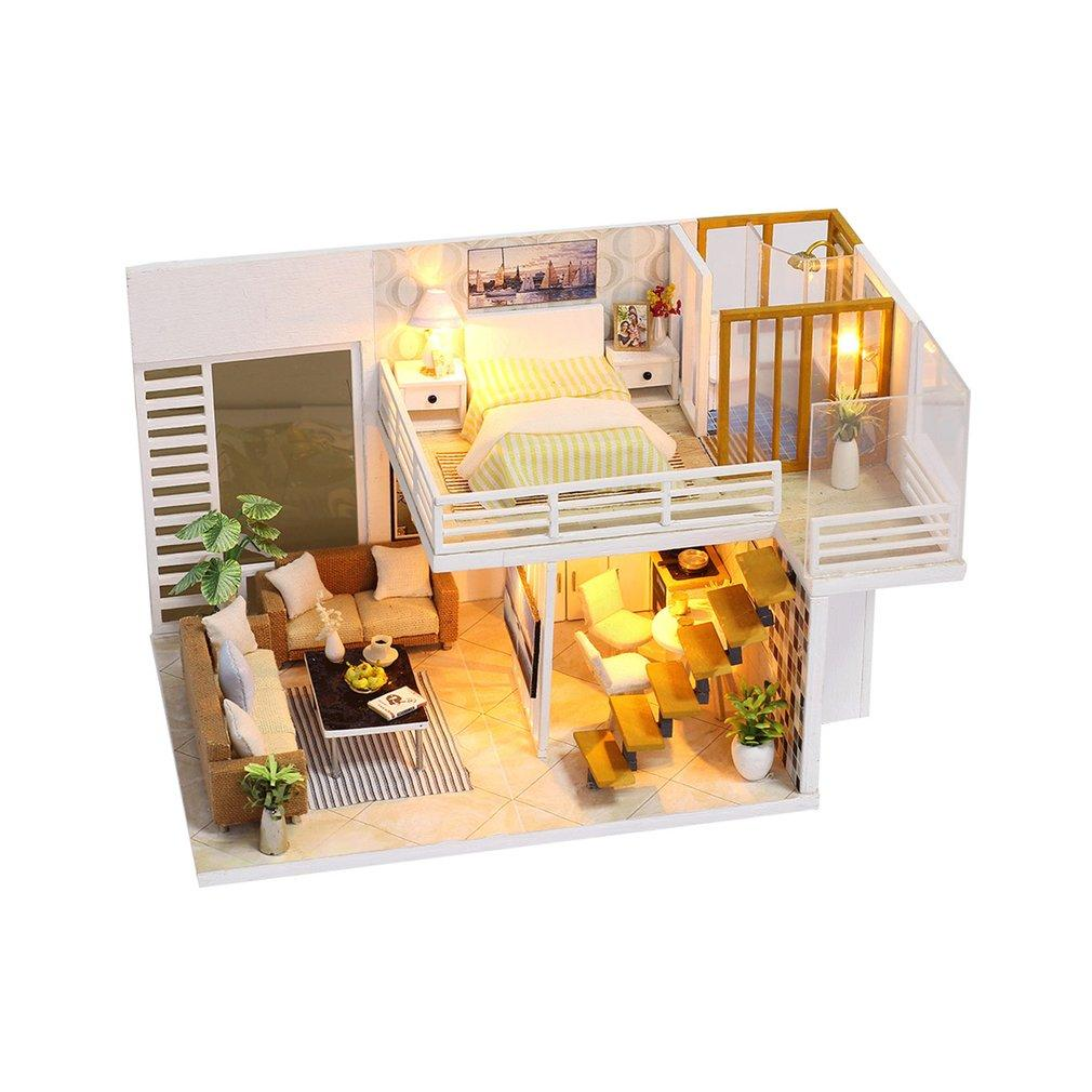 Elegant Wooden Furniture DIY House Miniature Box Puzzle Assemble 3D  Miniatures Dollhouse Kits Toys For Children Birthday Gift Doll Houses Cheap  Doll Houses ...