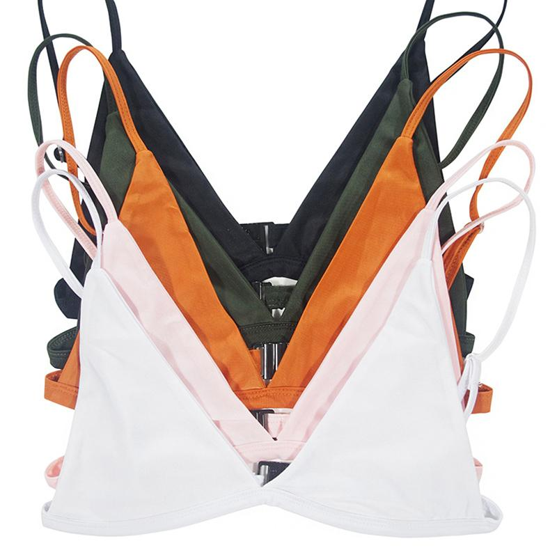 Women Push Up Bikini Top Brazilian Solid Swimwear Halter Sexy Pad Swim Bra Beachwear Sport Tops