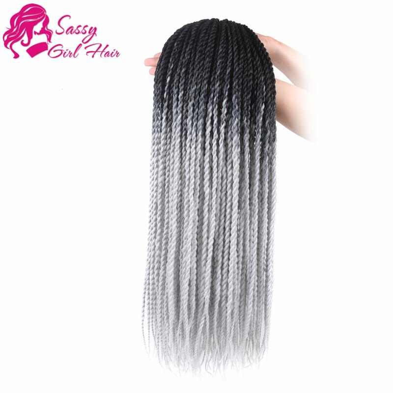 24 inch 5 Packs Senegalese Twist Crochet Hair Braids Synthetic Hair Extensions Black To GreySASSY GIRL