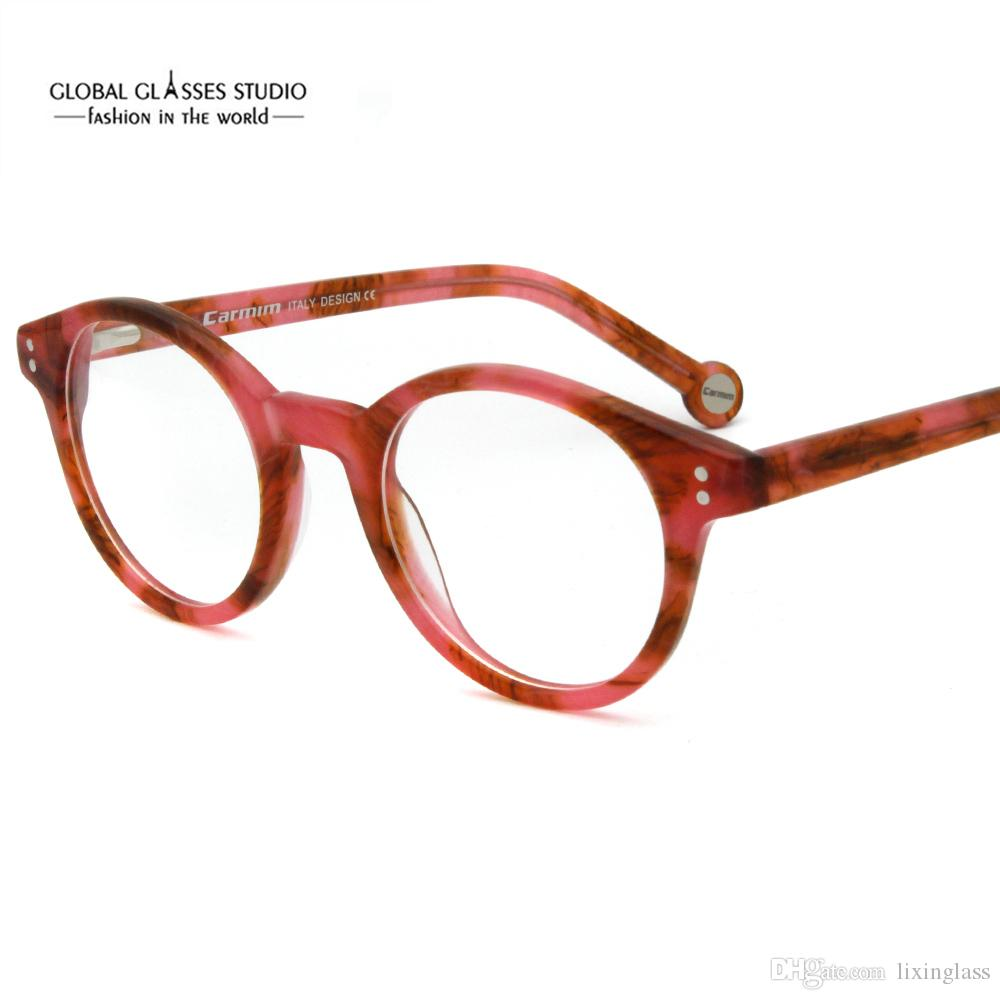 Compre Nova Moda Clássico Acetato De Forma Redonda Óculos Vinho Cinza  Moldura Óptica Óculos Óculos Das Mulheres Dos Homens RMG7072 De Lixinglass,  ... ae4612e4c2