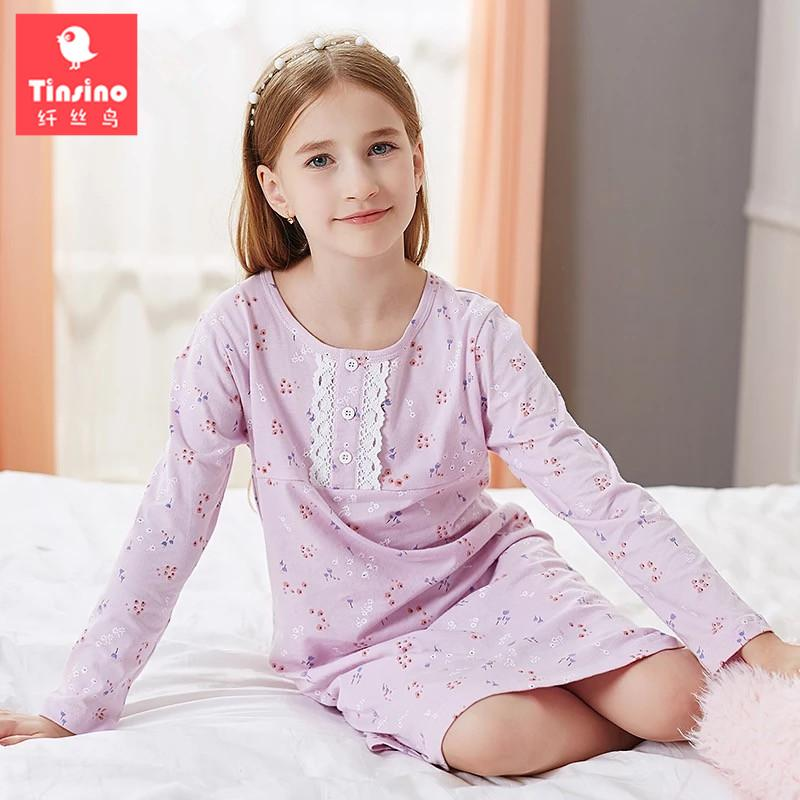 43364a06899d Tinsino Children Girls Autumn Nightgowns Long Sleeve Lace Nightdress Spring  Flowers Sleepwear Kids Girl Pajamas Home Clothes Kid Christmas Pajamas One  ...