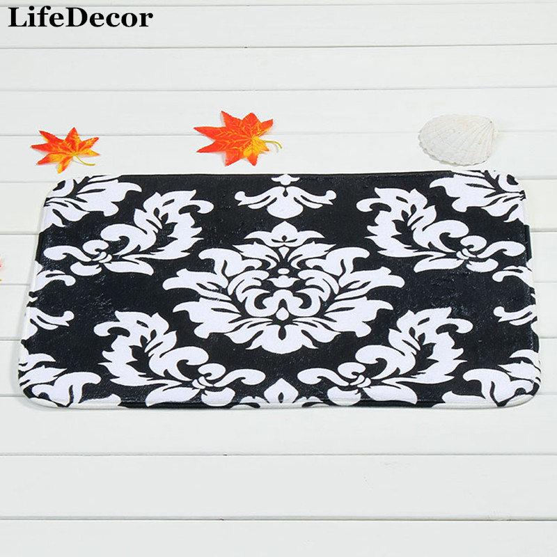Non-Slip Tapete Para Banheiro Bath Mats Modern Bathroom Shower Mat 40x60cm Coral Velvet Carpet White Flowers Kitchen Doormat