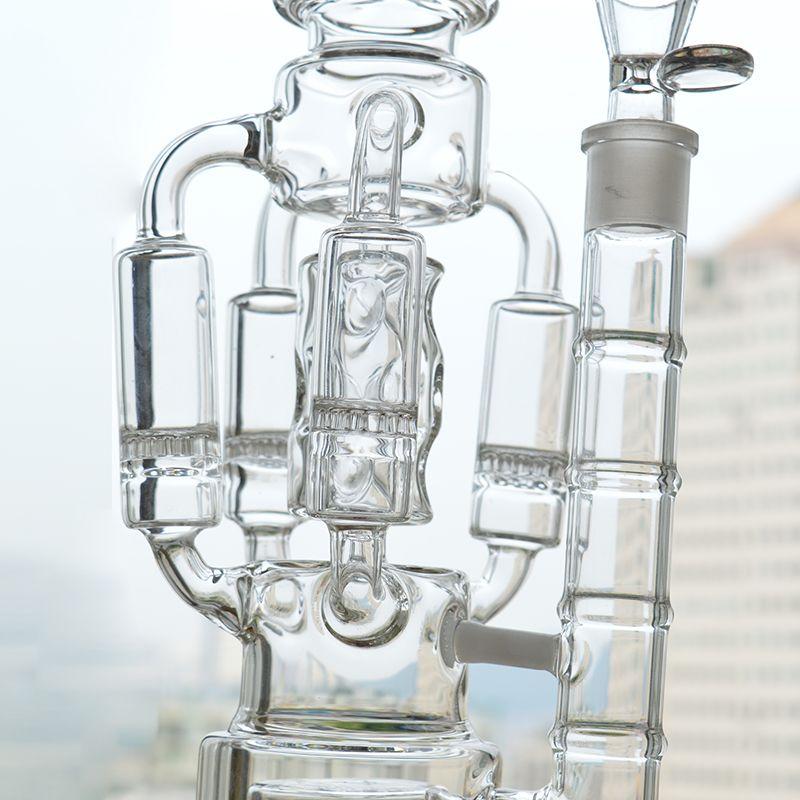 Glasbecher Bong Big Recycler Glas Dab Rigs 4 Rocket Waben Eisfänger Perc 18