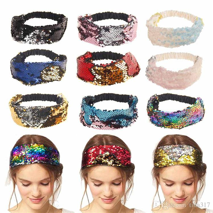 10 Colors Headband Reversible Elastic Sequin Girls Shiny Hairband Hair Accessories Women Elastic Mermain Hair Bands Head Wrap T1C100