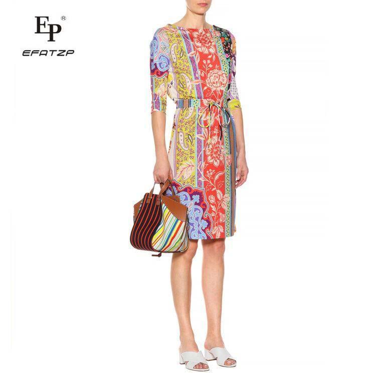 81951185b7288 Satın Al Yeni 2018 Lüks Tasarımcı Elbise Kadın Moda 3/4 Kollu Renkli Çiçek  Baskı XXL Streç Jersey Ince Ipek Gün Elbise, $73.86 | DHgate.Com'da