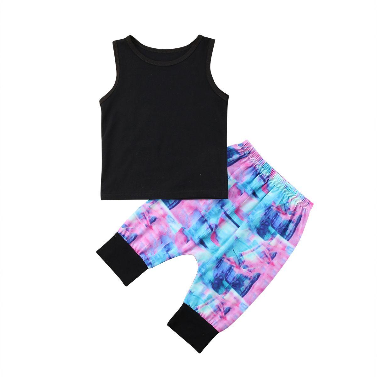 2e2024425 Boys Kids Baby Boys Solid Black Vest Tank Tops+Half Printed Colorful ...