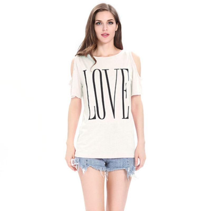 a4e204b2dc047 T Shirt Women 2018 New Fashion Summer Love Letter Print Off Shoulder Plus  Size Cotton Tshirt Cheap Cloth Vestidos WRH3009 Fun T Shirts Online Tshirt  And ...