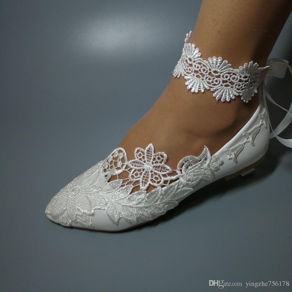 Sapatos artesanais Mulheres Moda sapatos de Casamento ballet plana pérola rendas aribbon diamante Nupcial da dama de honra sapatos tamanho da UE 35-42