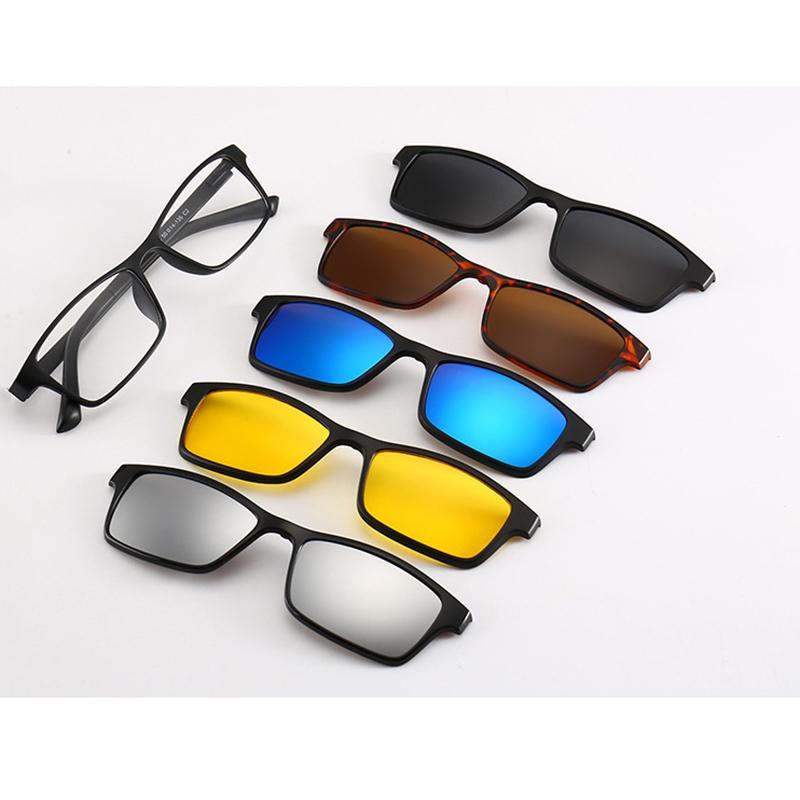 34acbdc058 Compre 5 Lentes Gafas De Sol Magnéticas Para Hombres Mujeres Gafas 5 En 1  Clip Gafas De Sol Polarizadas Espejadas Gafas De Visión Nocturna Gafas Gafas  A ...