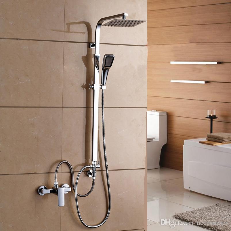 Exceptionnel Copper Split Shower Set With Slide Bar Wall Mounted Chrome Rain Shower Set  Square Douchette Salle De Bain Rainfall Shower Head Bathroom Shower Sets  Chromed ...