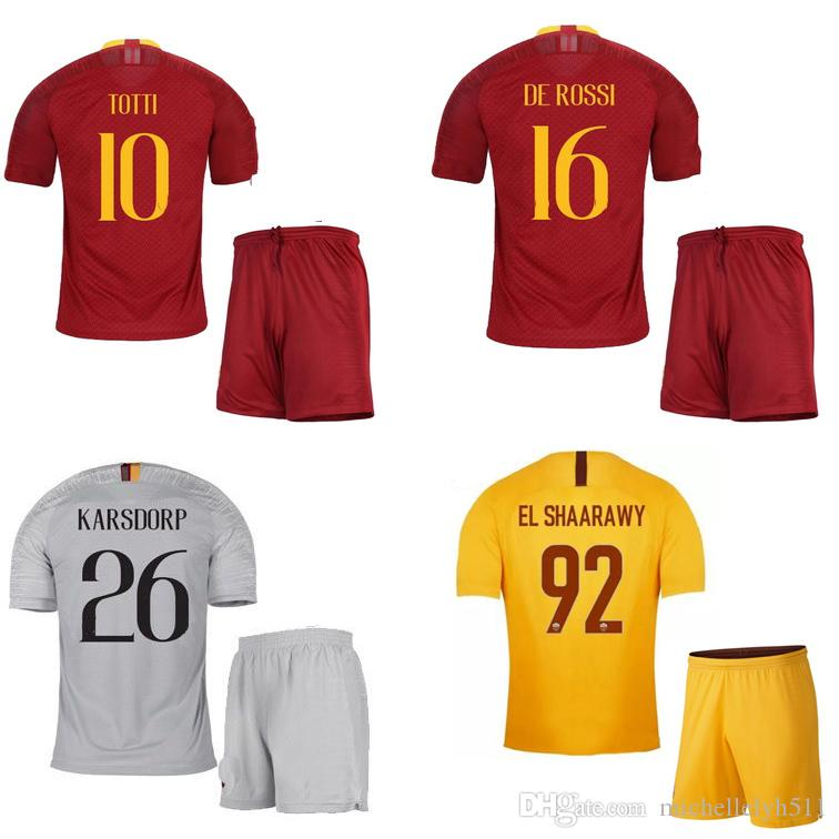 1ea3b854d 2018 2019 ROME Soccer Kits TOTTI DZEKO DE ROSSI Football Shirt Roma Home  Away Third Football Uniform Thai Quality Adult S Casual Sports Suit UK 2019  From ...