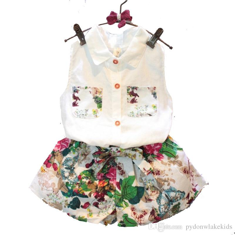 99bbea08e1ee 2019 2018 New Fashion Summer Children Girl Set Kids Clothes Flowers Chiffon  Halter Tops + Bows Shorts Baby Girls Clothing Sets Suits From  Pydonwlakekids