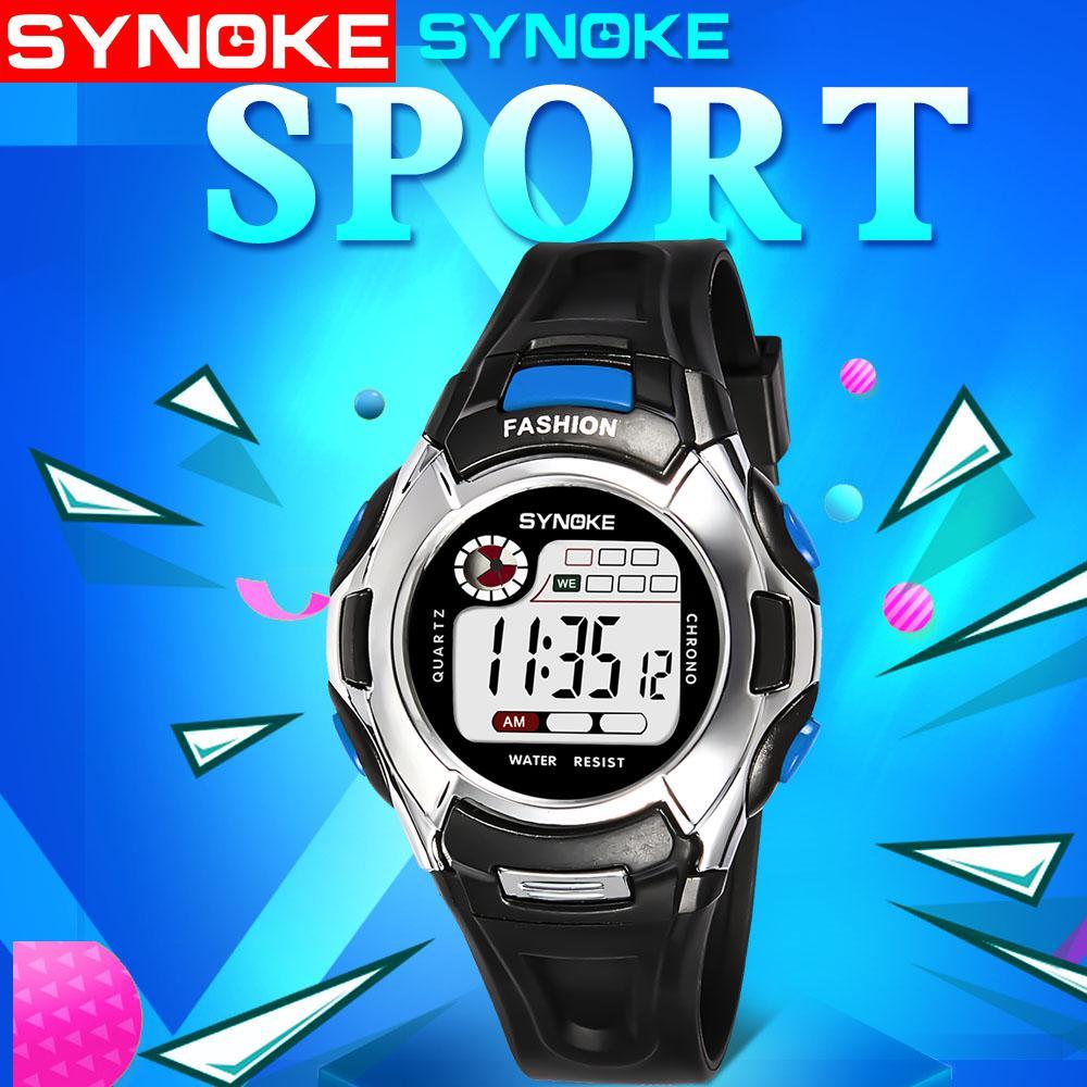 SYNOKE 99299 Sport Kids Watches Timer Digital Wristwatches Alarm Chrono 30M  Waterproof Children Watch Student Gift Black Gray