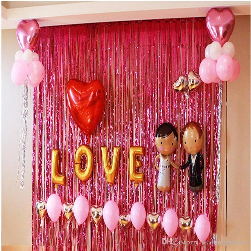 AJP 1Pc Tinsel Foil Fringe Door Window Curtain photo backdrop Party background for wedding Decoration birthday party supplies