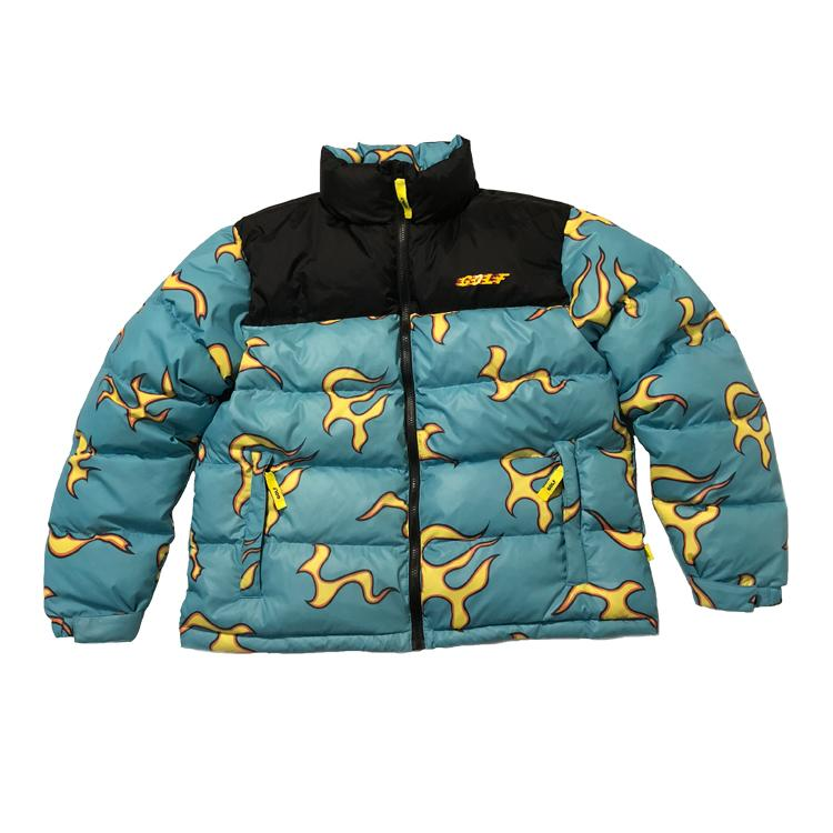 6095662f64d9 18FW Golfwang Flame Down Jackets Blue Flame Down Jackets Golf Down Jackets  Cotton Man And Women Coat HFWPYRF045 Online with  238.27 Piece on  Andys home s ...