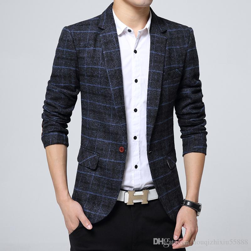 Compre Nueva Llegada De Negocios Blazer Para Hombre Casual Blazers Hombres  Celosía Chaqueta Formal Popular Diseño Hombres Vestido De Traje Chaquetas A  ... d7fd0336700