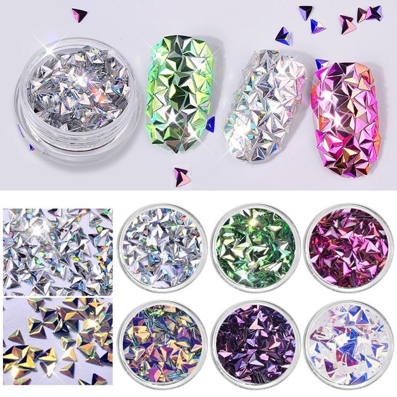 6 Box3D Mermaid Diamond Nail Glitter Flakes Sequins Tips Manicure ...