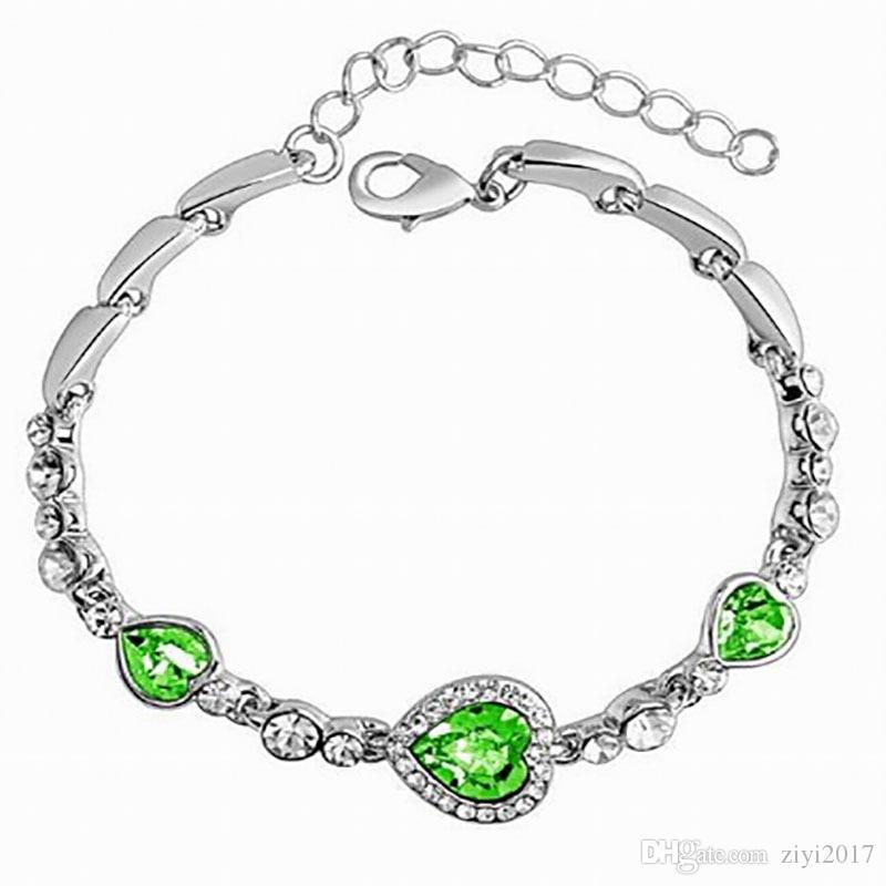 Estilo de verano Pulseras de cadena pulseras Astilla Color Brillante Rhinestone Forma de corazón pulseras del encanto para las mujeres pulseira masculina