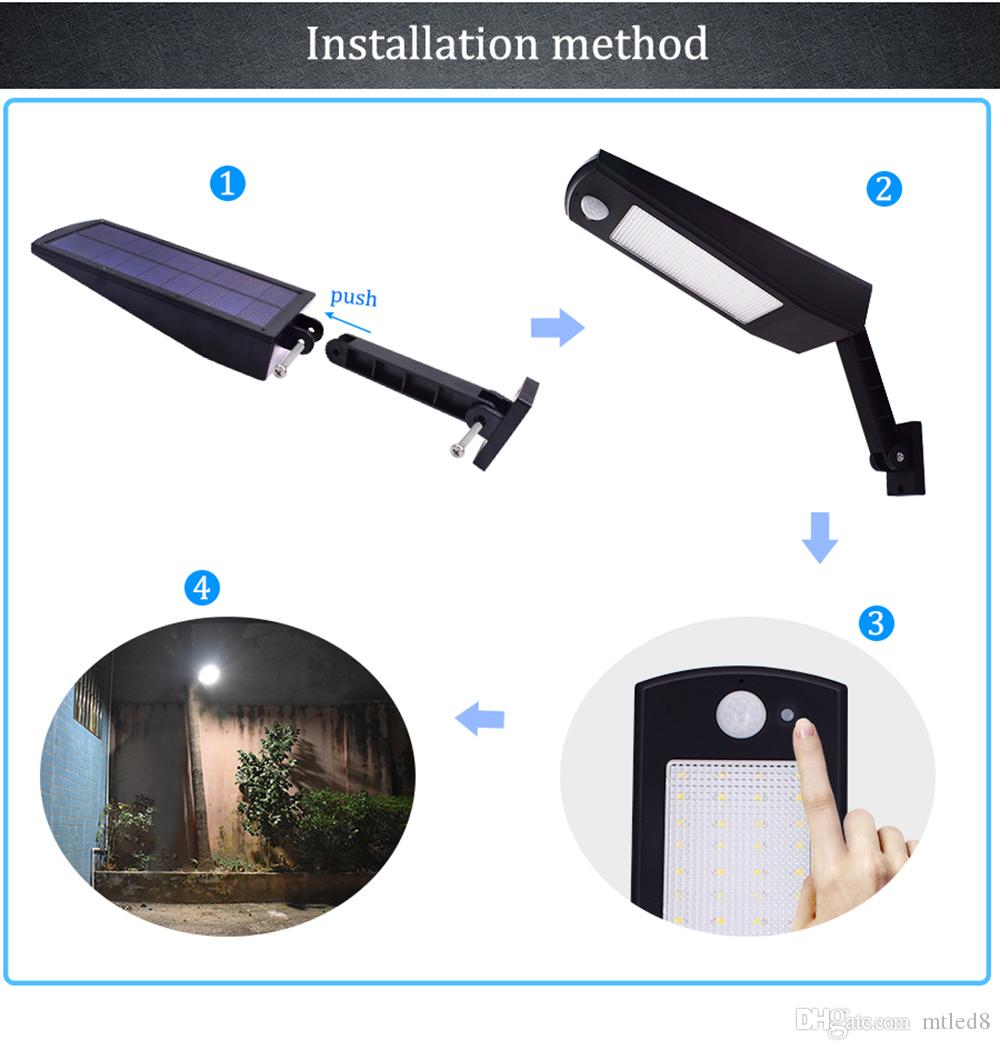 Newest 900lm Led Solar Light Outdoor Waterproof Lighting For Garden Wall 48 leds Four Modes Rotable Pole Solar Lamp