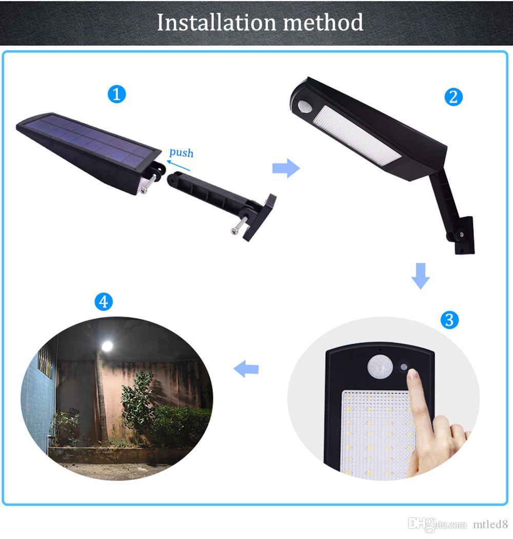 Yeni 900lm Led Güneş Işık Açık Bahçe Duvar Için Su Geçirmez Aydınlatma 48 leds Dört Modu Rotable Kutup Solar Lamba