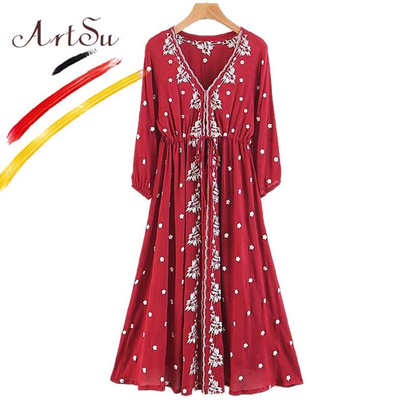 6654eec3fa5 2019 ArtSu Bohemia Retro Ethnic Floral Embroidery Maxi Dress Women Spring  Autumn 2018 V Neck Long Sleeve White Casual Robe Vestidos From Ruiqi02