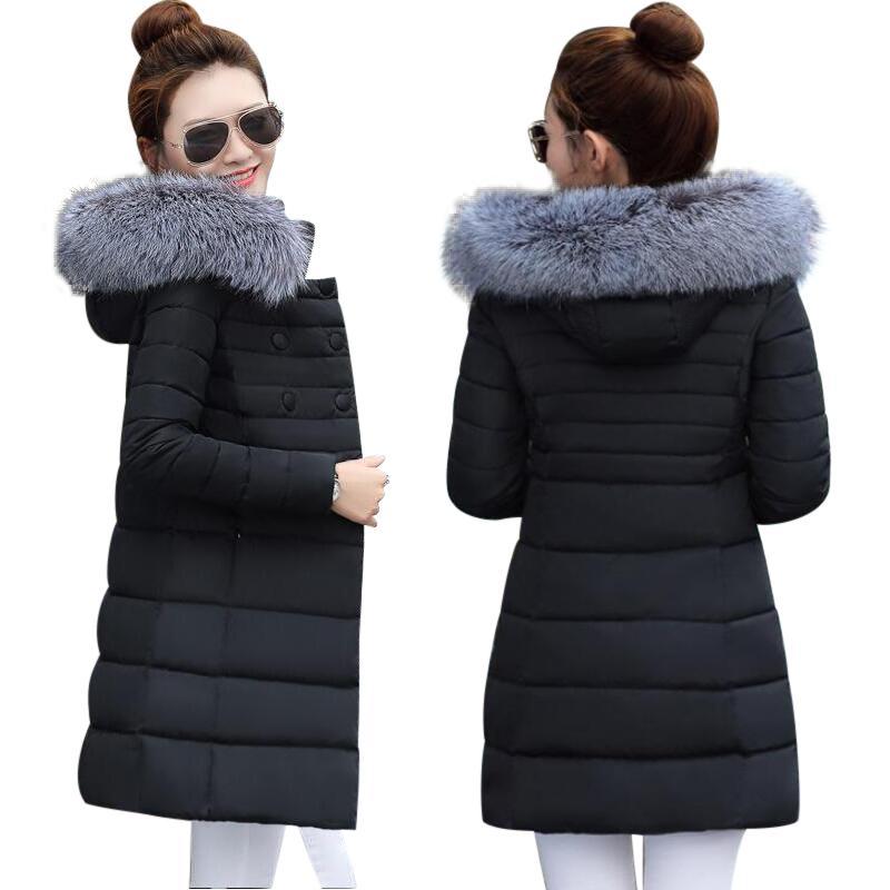 33d831a371590 Winter Female Jacket 2017 Winter Coat Women Fake Fur Collar Warm ...