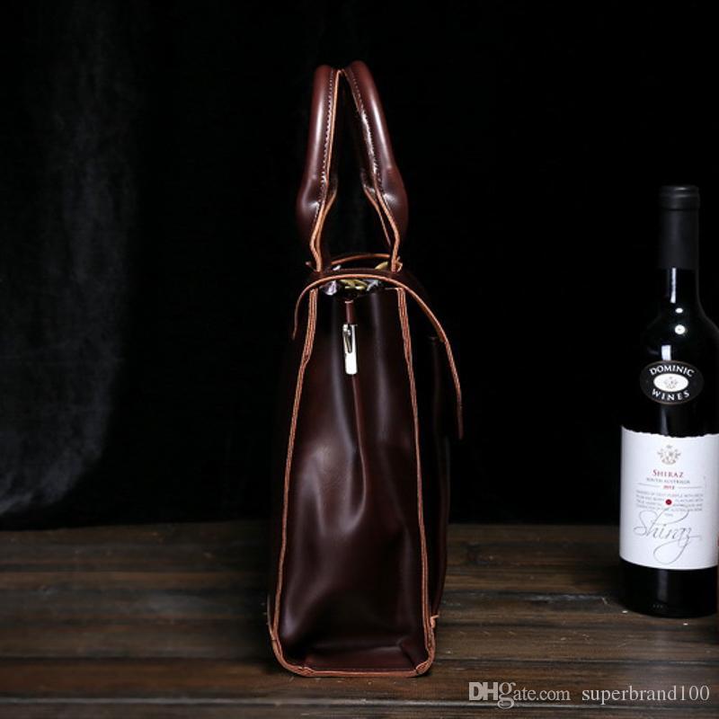 Male Messenger Bags Leather Shoulder Messenger Business Computer Briefcase 13 Inch Laptop Bag Vintage Muti-Function Handbags