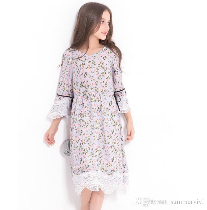 752ea7f1dc81c Big girls dress rural style children floral printed princess dress kids  lace-up Bows lace embroidery flare sleeve dress fit 4-15 Years F0984
