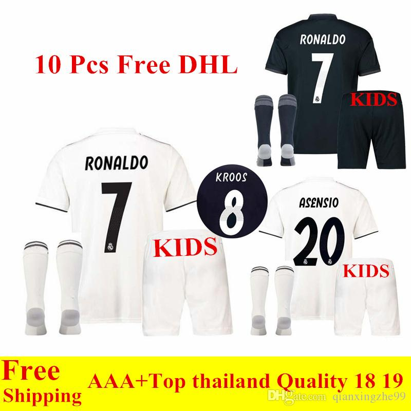 3823a61fcf1 2019 2018 Real Madrid Soccer Jersey 18 19 Home White Away Black Kids Kit  Ronaldo ASENSIO ISCO Football Kits Bale Child Soccer Jerseys Sets From ...