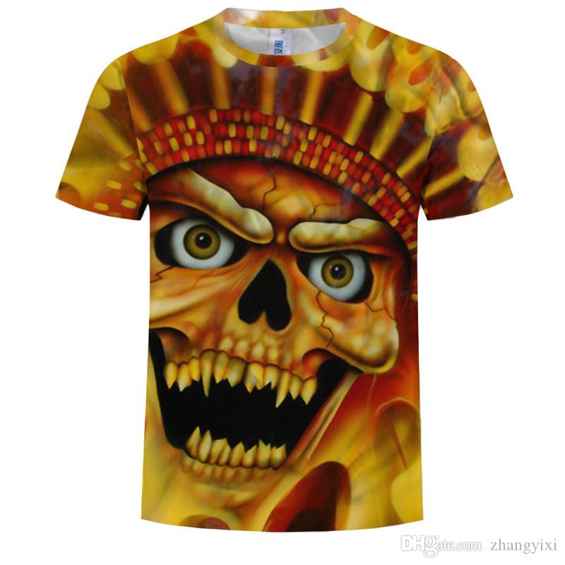 Wholesale Summer New Design Men Fashion Firing Red Skull Skeleton 3D Sublimation Printed Tees T-shirt