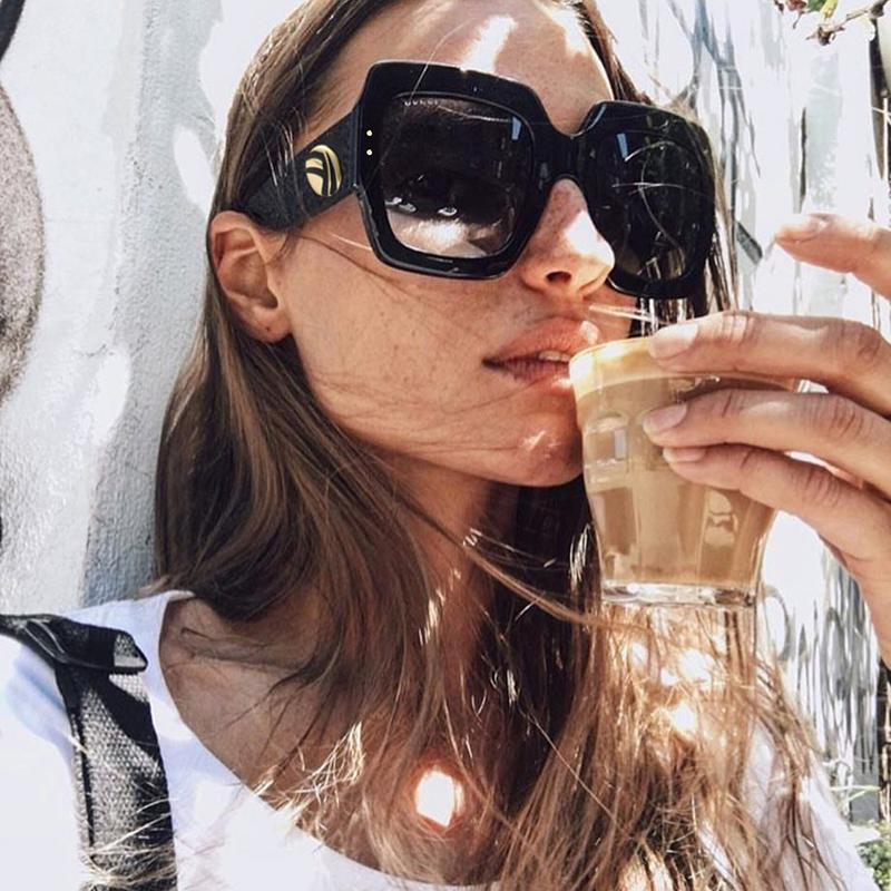 23dc2021a2b HBK New Sunglasses Women Square Oversized Sunglasses Women Fashion Sun  Glasses Lady Brand Designer Vintage Shades Gafas Oculos Best Sunglasses  Dragon ...