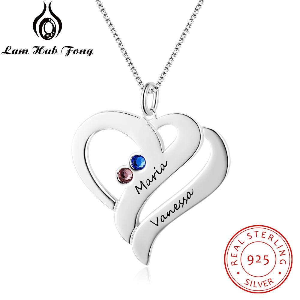personalized necklaces 925 sterling silver heart shape pendants