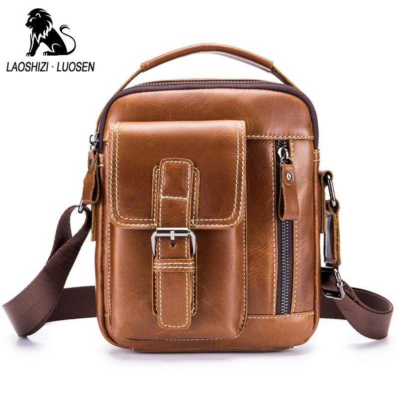 LAOSHIZI LUOSEN New Design Men Shoulder Bags Genuine Leather Small Handbag  Vintage Casual Men Messenger Bags Travel Male Bag Fashion Handbags Large  Handbags ... 24b80430ddd52