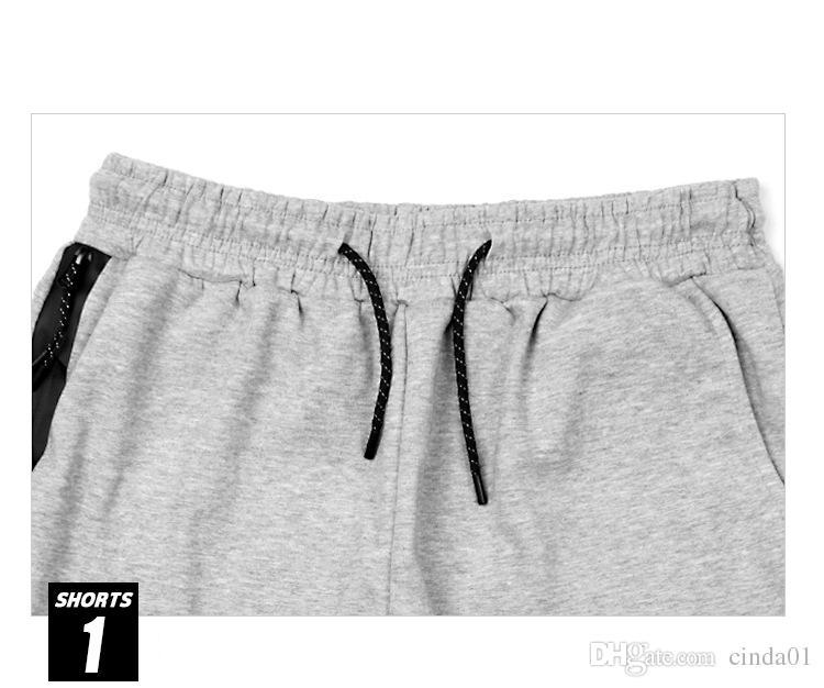 Fleece Sport Shorts Zipper pocket Sport pants casual pants Grey Black S-XL