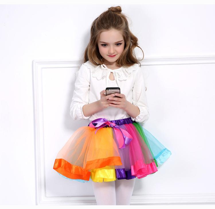 새로운 여름 키즈 여자 치마 무지개 색 투투 드레스 신생아 레이스 공주 치마 Pettiskirt 프릴 발레 Dancewear