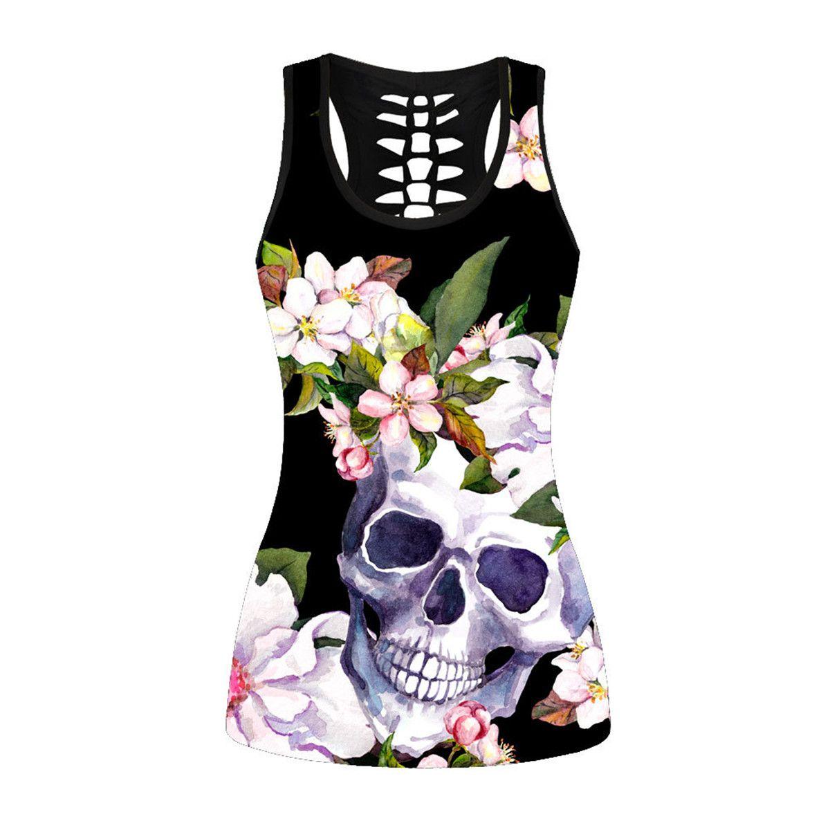 95346e5e5e96fe 3D Dark Black Tops Skull Death Skeleton Printed Women Tank Top Blusa ...