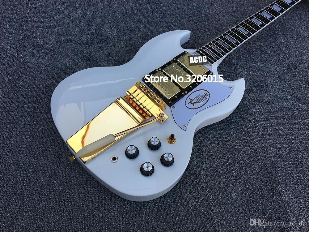 Rare Gold Hardware Jimi Hendrix White Sg Electric Guitar Long ...