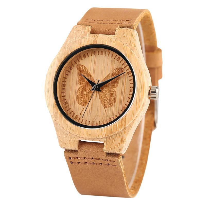 Grosshandel Bambus Holz Frauen Uhren Kreative Schmetterling Dial