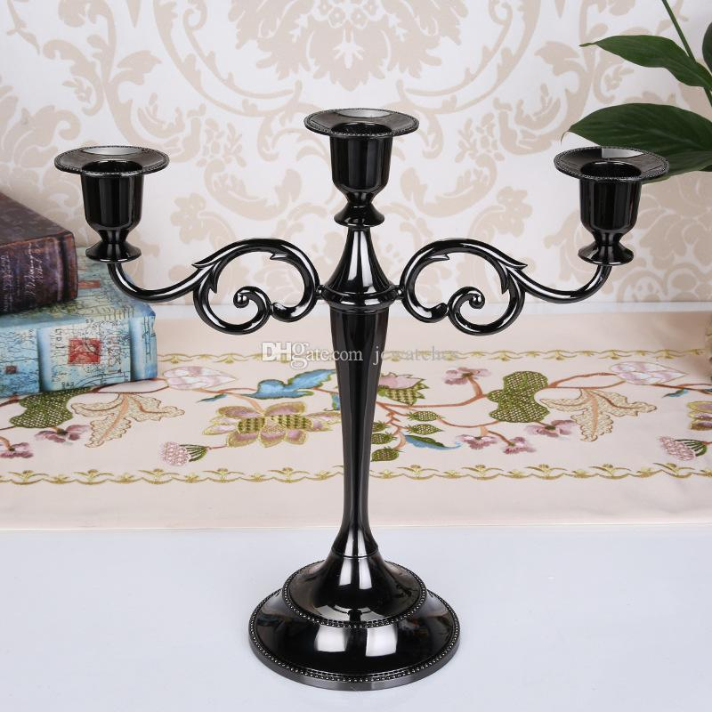 3-arms Candle Stand Metal Candle Holders Wedding Decoration Candelabra Centerpiece Candlestick Table Decor Crafts Silver/Gold/Bronze/Black