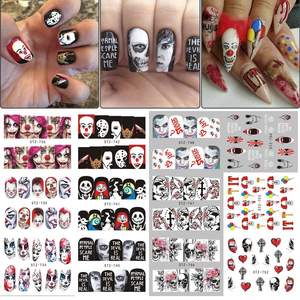 Halloween Designs Water Transfer Stickers Vampire Rose Nail Art