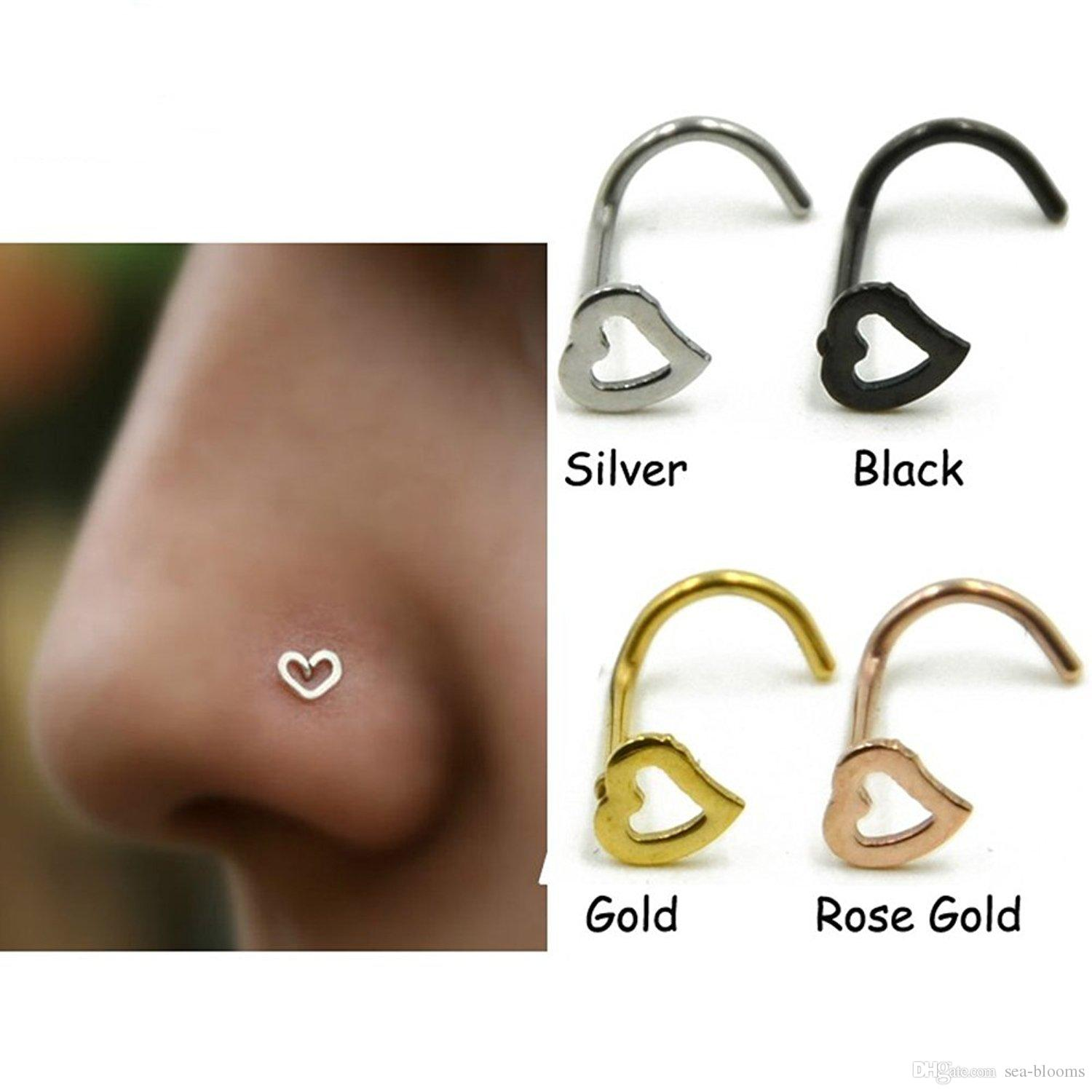 5 Style Heart Nose Studs Piercing Ornament Nose Ring Screw Stainless Steel Curved Nose Nails Support Fba Drop Shipping G615s