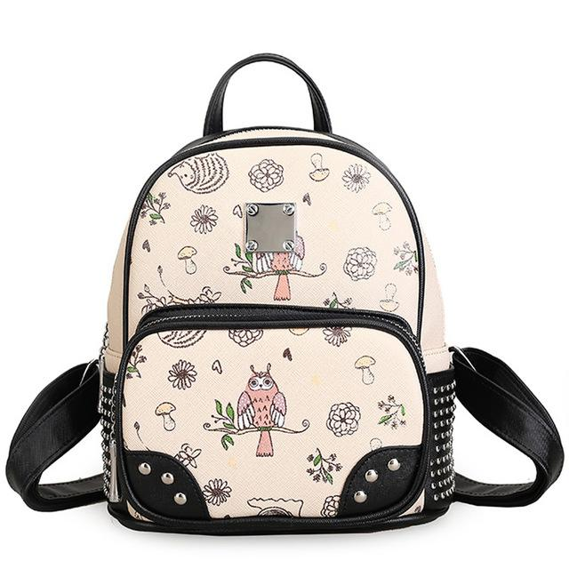 82148fa5240a 2018 Korean Backpacks Owl Backpack Rivet Mini Bag PU Leather Satchel  Teenage Girls Schoolbag High Quality Ladies Backpacks 535 Leather Backpack  Laptop ...