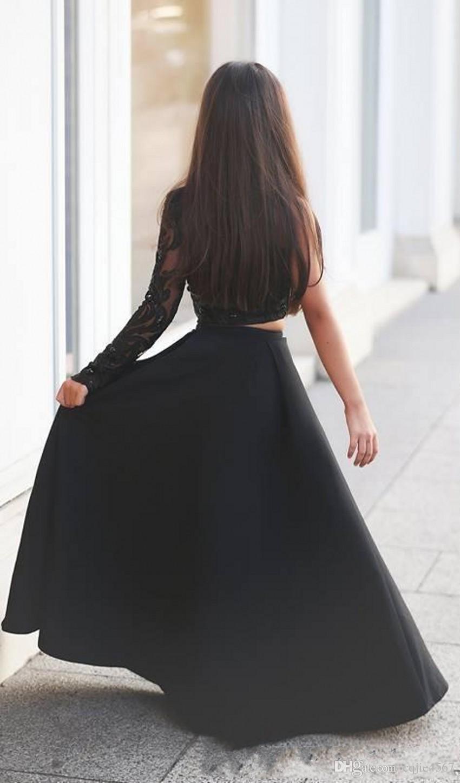Elegante schwarze zweiteilige Mädchen Festzug Kleider 2018 neue Single Langarm eine Linie lange Kinder Hochzeit Kleid Blumenmädchen Kleid zuerst