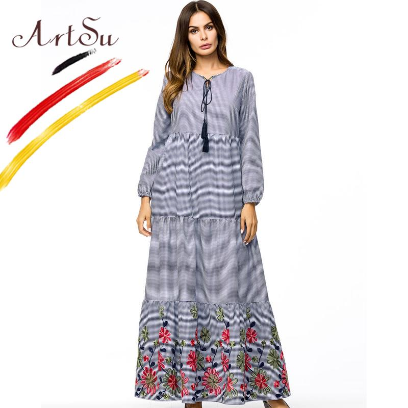 2019 ArtSu Women Plus Size Dress Classic Plaid Long Sleeve Maxi Dress Robe  Femme 2018 Autumn Casual Loose Floral Embroidery Vestidos From Ruiqi02 9b5d799cd541