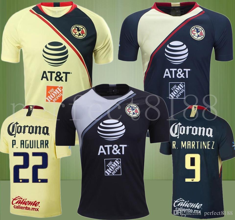 2018 2019 LIGA MX Jersey De Futbol Club America C.DOMINGUEZ R.JIMENEZ  R.SAMBUEZA P.AGUILAR Uniforme De Futbol Visitante Local Uniforme De Futbol  Camiseta ... 196ed8299b2e6