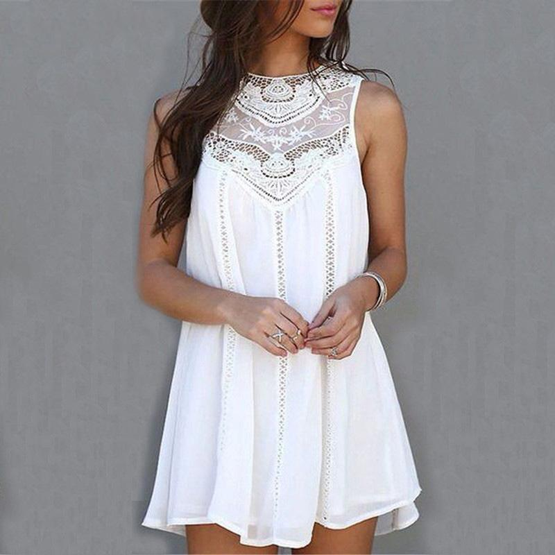 e323c14260c Womens Summer Dresses 2018 Summer White Lace Mini Party Dresses Sexy Club  Casual Vintage Beach Sun Dress Plus Size Casual White Summer Dress White  Teenage ...