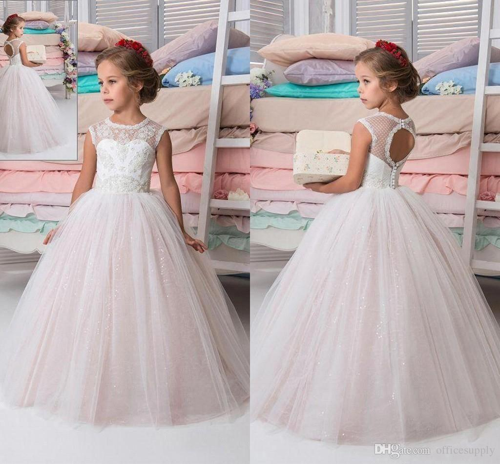 Pink Princess Flower Girls Dresses Lace Applique Girls Pageant