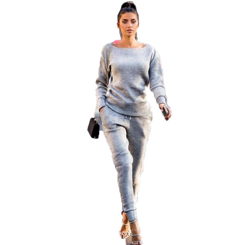 Großhandel Herbst Winter Gestrickte Trainingsanzug Frauen 2 Stück Set  Rundhals Langarm Solide Sweatshirts + Hosen Sport Anzug Weibliche Outfit  Von ... 15cc156569
